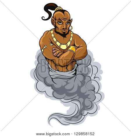 Genie coming out of a magic lamp. Genie vector illustration