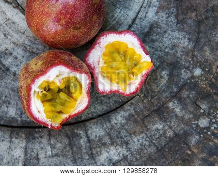 Exotic passionfruit on a wooden table