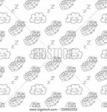 Sleep owlet vector seamless pattern. vector illustration owl.