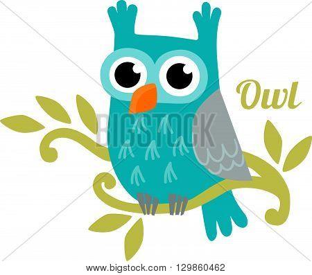Owl isolated vector illustration. Cute cartoon owl. Trendy owl