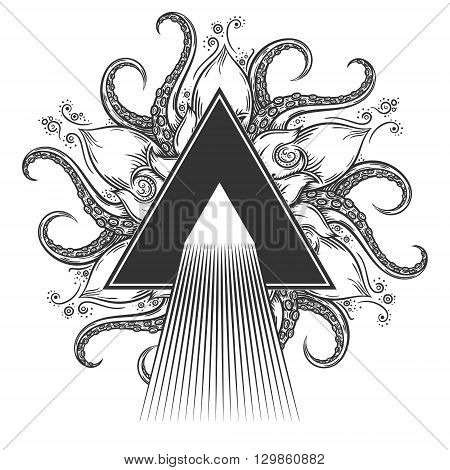 Dispersion abstract illustration on hand drawn nautical mandala.