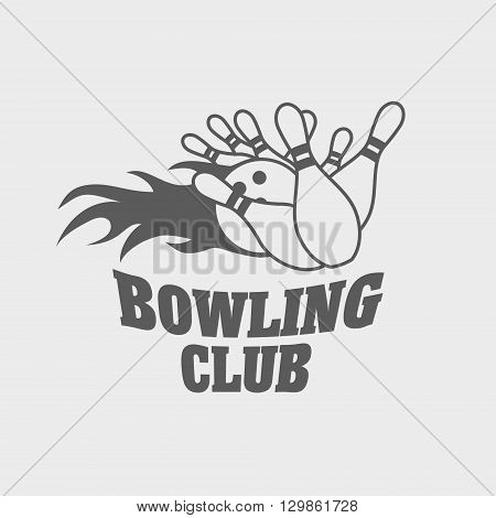 Bowling Logo, Label, Or Symbol Design Concept With Ball Knocks Down Pins Illustration.