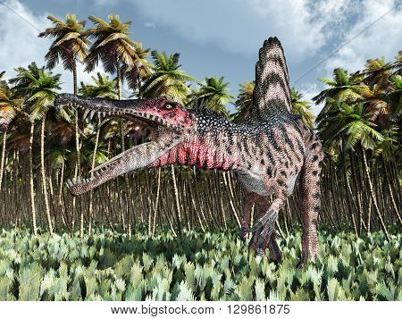 Computer generated 3D illustration with the dinosaur Spinosaurus in the jungle