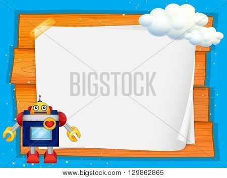 Frame design with robot and cloud illustration