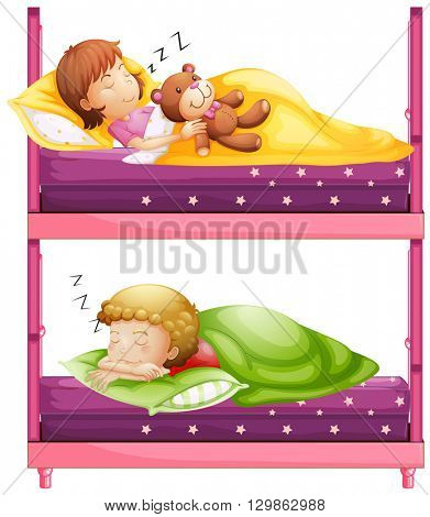 Kids sleeping in bunkbed at night illustration