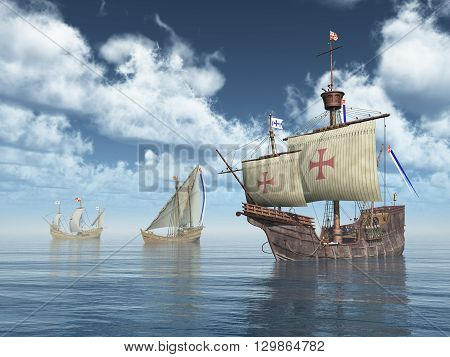 Computer generated 3D illustration with the ships Santa Maria, Nina and Pinta of Christopher Columbus