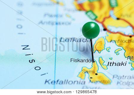 Fiskardo pinned on a map of Greece