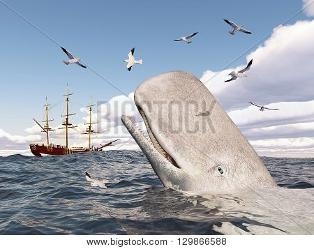 Computer generated 3D illustration with Mocha Dick, seagulls and sailing ship