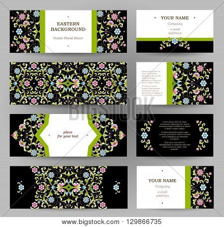 Vector Set Of Golden Floral Cards.
