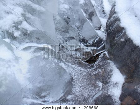 Icy Forms With Hole In Frozen Creek