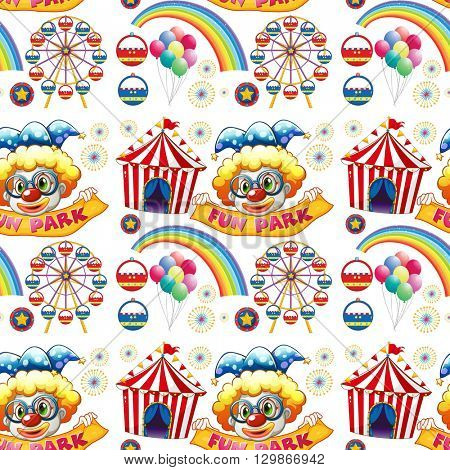 Seamless clowns and circus illustration