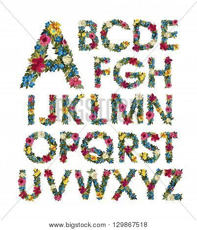 Colorful floral alphabet. ABC. Grotesque capital letters with flowers and leaves. Vector illustration. Isolated on white. Spring and summer flowers  roses, forgot me not, iris, Lilly, peony.