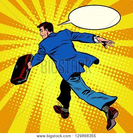 Businessman quickly comes forward pop art retro style. The leader is ahead of all. Business leader
