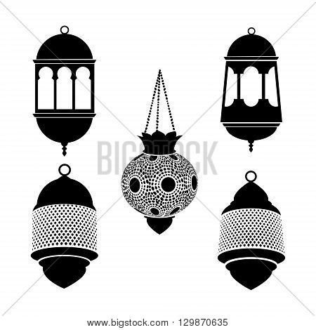 Set of arabic lanterns. Black silhouettes of ramadan lamps. Isolated stock vectors. Flat design.