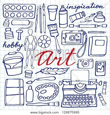 Art supplies set. Hand-drawn cartoon collection of art tools - painting, calligraphy, drawing, writing hobby supplies. Doodle pen drawing on the notebook page. Vector illustration