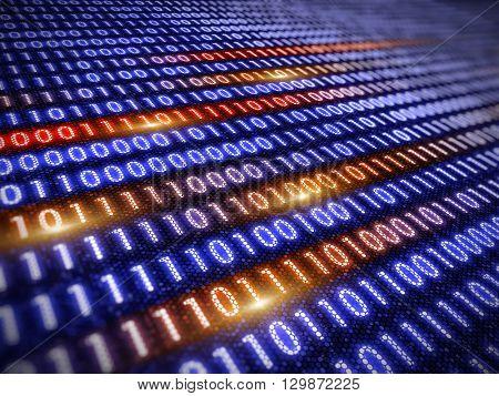 Digital information concept - binare code background. 3d render