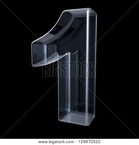 Transparent x-ray number 1 ONE. 3D render illustration on black background