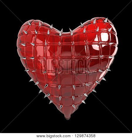 quilted heart with silver, kinky style metal, steel spikes on surface, isolated on black background 3d rendering. BDSM style valentine.