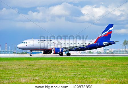 SAINT PETERSBURG RUSSIA - MAY 11 2016. Aeroflot Airlines Airbus A320 airplane -registration number VQ-BPW. Airplane is riding on the runway after arrival at Pulkovo International airport
