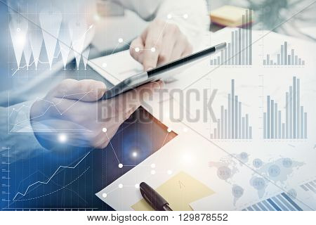 Photo Analytics Department working Market Chart.Banker Manager work process.Use Digital devices.Graphic icon, Worldwide Online Stock Exchanges Interface on Screen.Business Project Startup.Film Effect