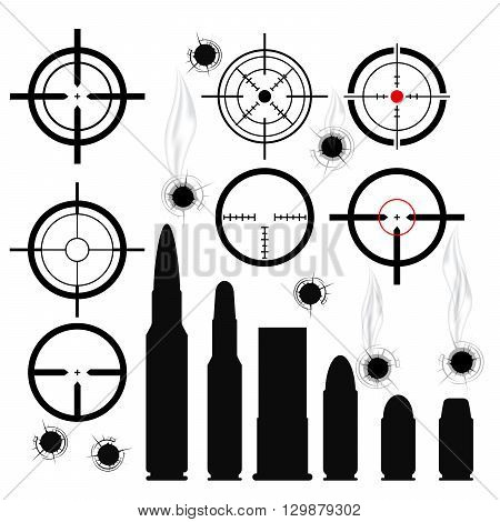Crosshairs (gun sights) bullet cartridges and bullet holes