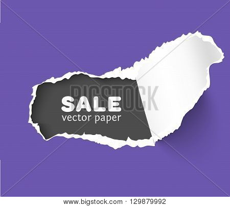 Colorful vector paper hole with space for text, ripped edges, dark copyspace. Torn paper template for sale promo and advertising. Torn paper for scrapbooking. Web banner with hole in paper