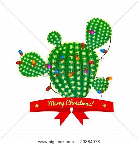 Christmas green prickly pear cactus tree with four spikes decorated with garland and red ribbon with congratulatory messages. bright juicy succulent, vector illustration in cartoon style