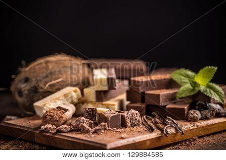 Cubes of homemade chocolate fudge, studio shot