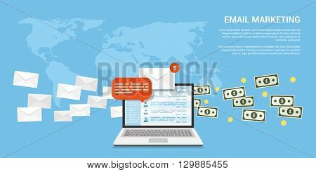 flat style banner for email marketing internet marketing concept