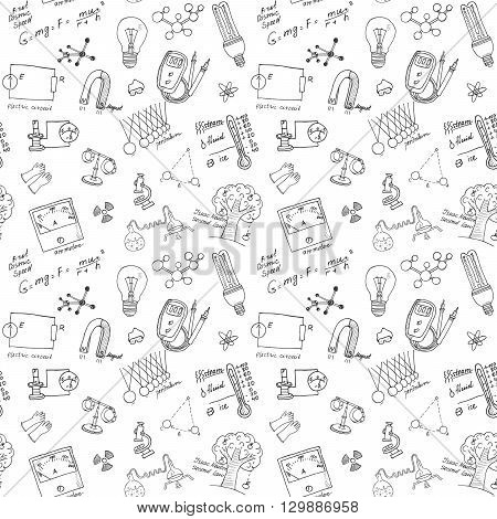 Physics And Sciense Seamless Pattern With Sketch Elements Hand Drawn Doodles Background Vector Illus