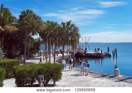 MIAMI BEACH, UNITED STATES - FEBRUARY 8: People walk and relax at the Villa Vizcaya Museum on 8th of February, 2016 in Miami Beach.