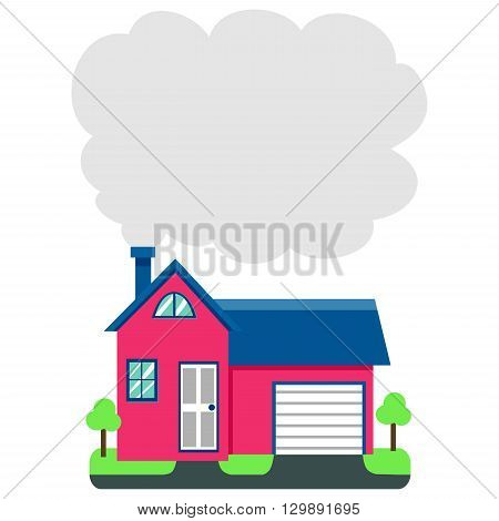 Vector Illustration of House with Chimney Smoke