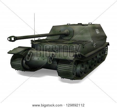 3D render of a German Panzer self-propelled gun 'Ferdinand'.