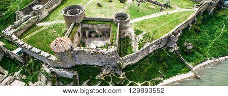 beautiful view on Akkerman fortress in Belgorod-Dniester, Ukraine, aerial photo