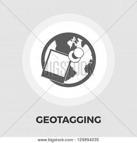 Geotegirovanie. Single flat icon on white background. Vector illustration. icon vector. Flat icon isolated on the white background. Editable EPS file. Vector illustration.