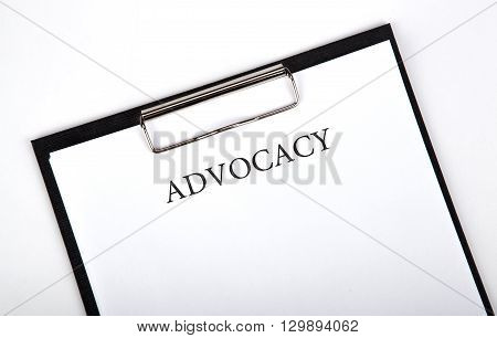 document with the title of advocacy close up