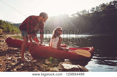 Couple Going For Kayaking In Lake