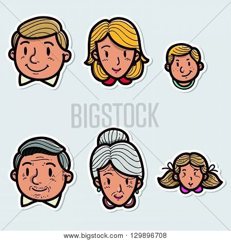 Hand drawn Vector illustration of a family sticker