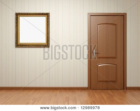Empty Room With Door And Frame