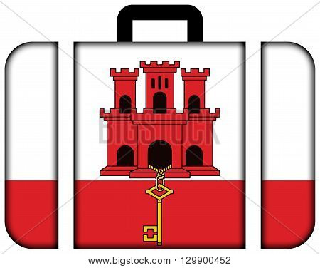 Flag Of Gibraltar. Suitcase Icon, Travel And Transportation Concept