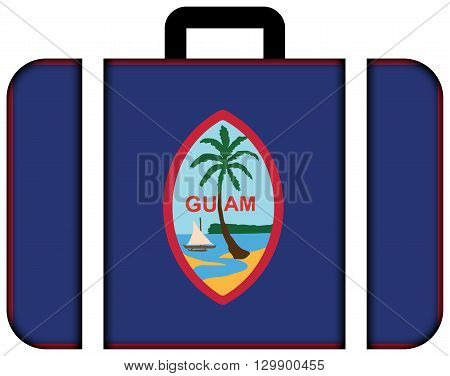 Flag Of Guam. Suitcase Icon, Travel And Transportation Concept
