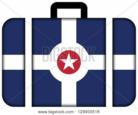 Flag Of Indianapolis, Indiana. Suitcase Icon, Travel And Transportation Concept
