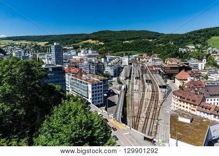 View To The New City Part Of Baden In Switzerland