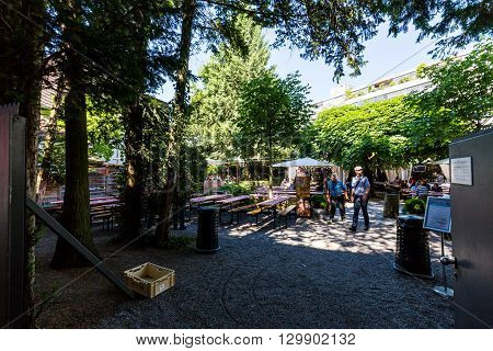 View To The Brewery Muller Brau And Its Beergarden In Baden, Switzerland