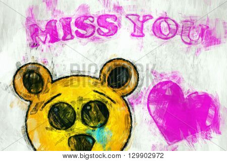 Graphic illustration of a sad Bear with heart and text
