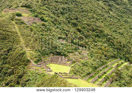 South America - Choquequirao lost ruins (mini - Machu Picchu) remote spectacular the Inca ruins near Cuzco