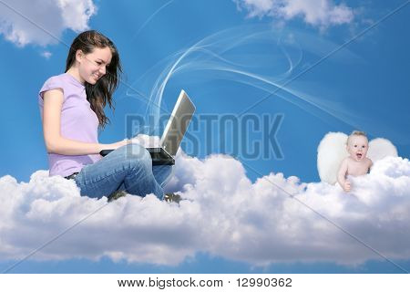 girl with notebook on cloud and little angel collage