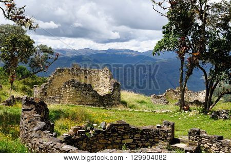 South America Peru Kuelap matched in grandeur only by the Machu Picchu this ruined citadel city in the mountains near Chachapoyas