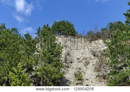 Mountainside of Lozen mountain with talus and forest at the top, Pancharevo, Bulgaria
