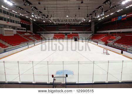 "MOSCOW - FEBRUARY 20: Stadium before  hockey match ""Spartak""-""Severstal"" on ice field in sports palace ""Sokolniki"" February 20, 2010 in Moscow, Russia"
